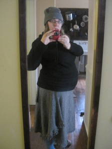 two weeks post-partum & still kind of looking four months pregnant.